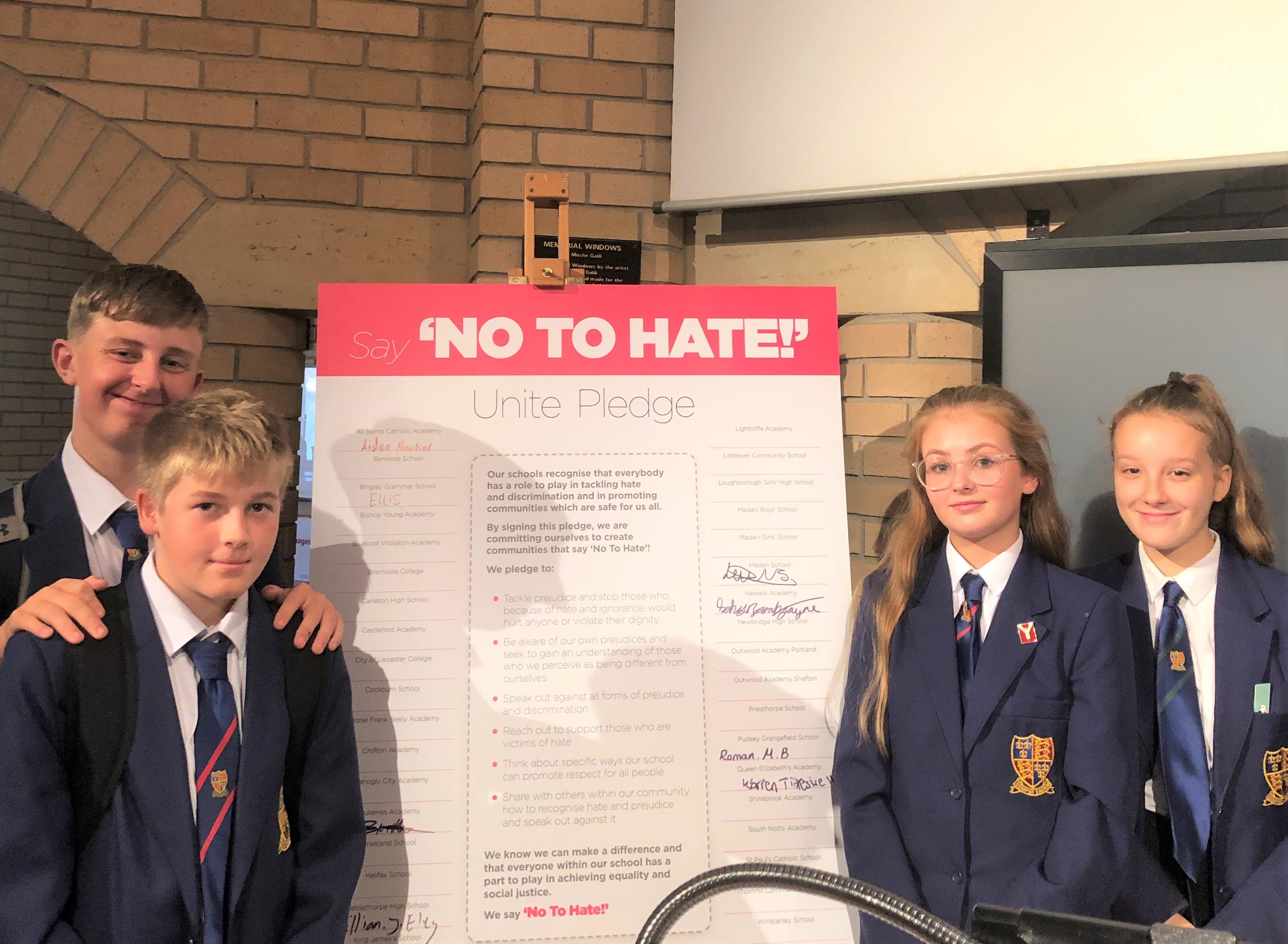 Students say 'No to Hate' as part of important project