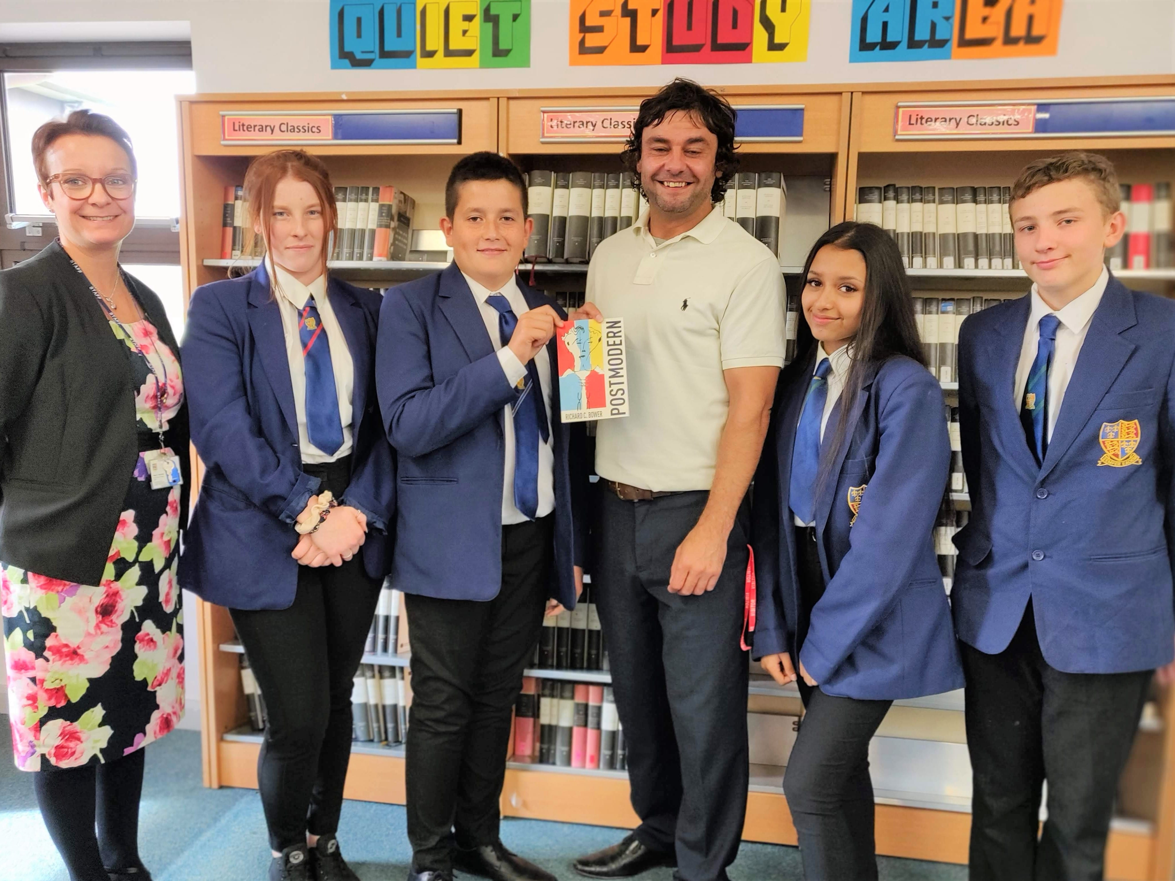 Former QEA student and poet Richard C. Bower visits students