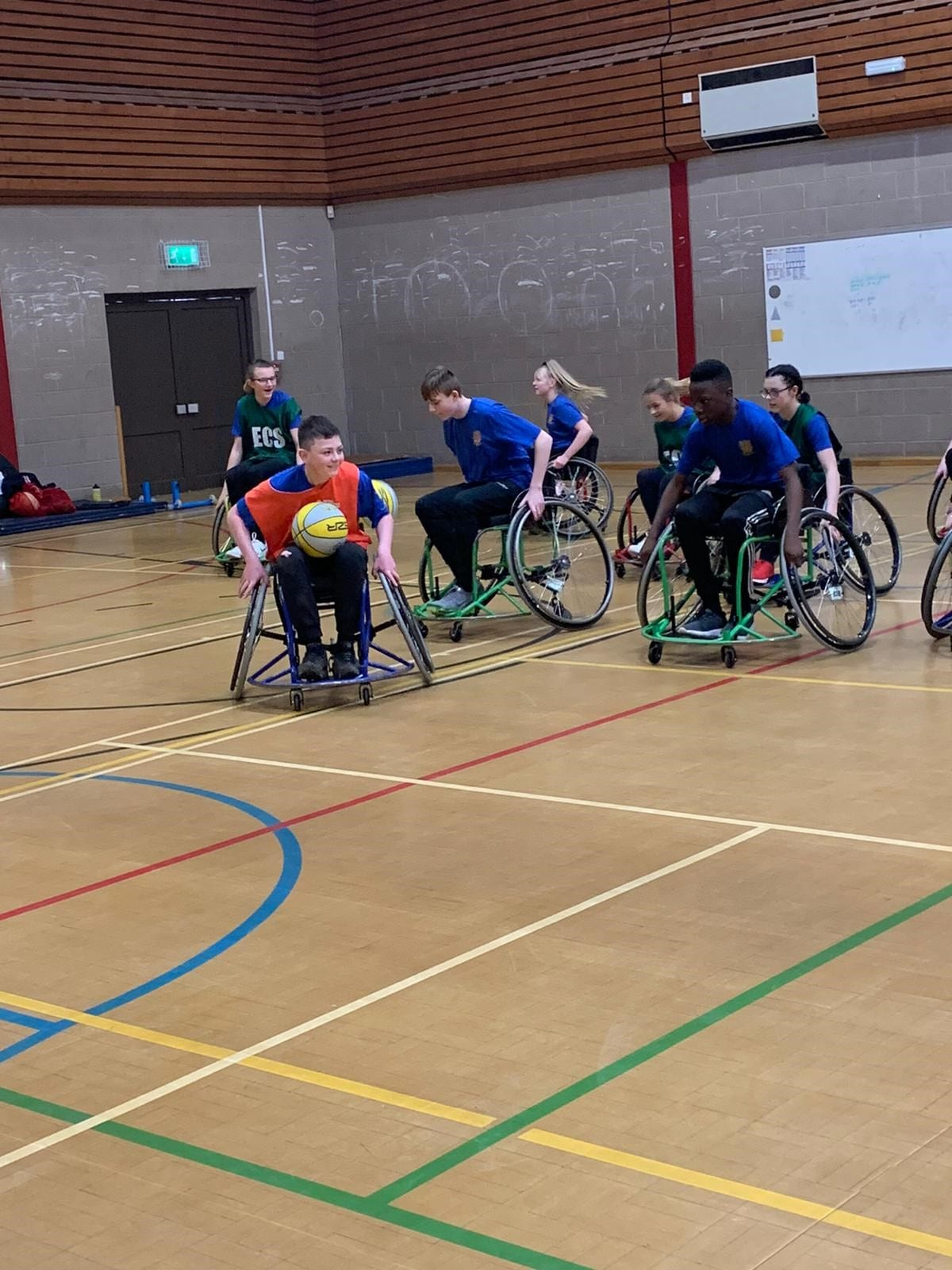 Key stage 3 students take part in wheelchair basketball